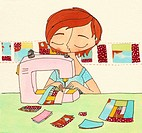 A woman sewing a quilt