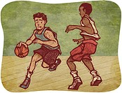 Two young men playing basketball (thumbnail)