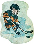 A boy playing ice hockey