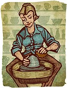A woman using a pottery wheel