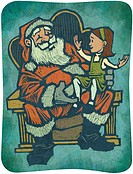 A little girl sitting on Santas knee