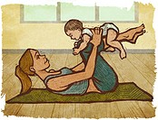 A mother and baby doing yoga