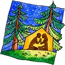 A painting of a couple camping in a tent under the stars