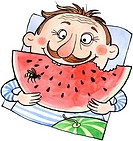 A man eating a large slice of watermelon
