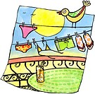 A bikini, swim trunks and sandals hanging on a clothes line in the sun