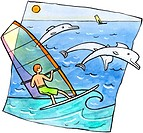 Windsurfers and dolphins in the ocean