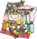 A girl sitting with gifts under the Christmas tree holding an armful of candy