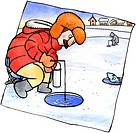 A man ice fishing