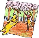 A woman playing fetch with her dog under blossom trees (thumbnail)