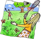 Two women playing badminton outdoors