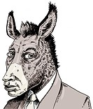 Businessman with donkeys head