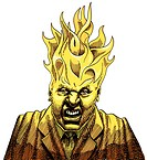 Angry businessman with fire flames protruding from his head