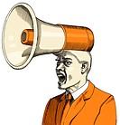 An illustration of a man dressed in business attire and yelling with a megaphone growing from his head