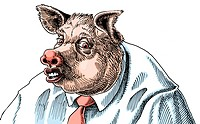 An illustration of a of a businessman adapted into a pig wearing a pink tie