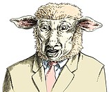 An illustration of a sheep wearing a cream business suit and pink tie