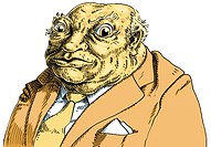 An illustration of a toad wearing a brown business suit and cream tie