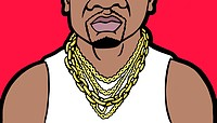 An illustration of a close_up of a mans large chunky gold jewellery