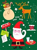 A collection off Christmas inspired images, including Santa, Reindeer, Stockings filled with gifts and the caption Ho Ho Ho