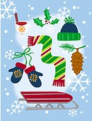 A collection of winter themes Christmas icons including a sled, gloves, scarf, snow (thumbnail)