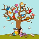 Two children resting under the book covered branches of a large tree