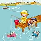 Two small children catching books in the sea