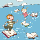 Two children hopping across floating books in the sea