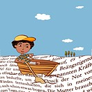 A young boy in a row boat surrounded by waves of words