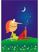 A woman relaxing under the stars with a cellular phone on her knee (thumbnail)