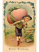 A vintage Easter postcard of a boy with a large Easter egg on his back