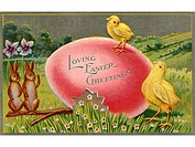 A vintage Easter postcard of chicks and rabbits on an Easter egg
