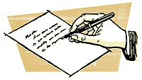 A drawing of a hand writing a letter