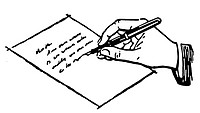 A black and white version of a drawing of a hand writing a letter