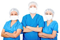 group of surgeons isolated over a white background