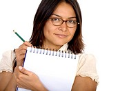 business woman wearing sunglasses and writing on a notepad _ isolated over a white background