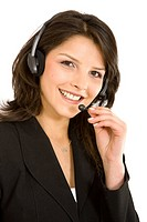 business customer support operator woman smiling _ isolated
