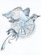 A drawing created with fine detail in blue and black creating a flying bird