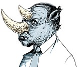 An illustration of a businessman with a head like that of a rhinoceros
