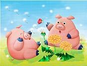 Two happy pigs in field