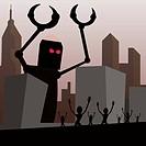 Robot attacking city