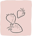 A textured line drawing of strawberries