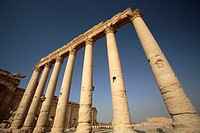 Colonnade at Temple of Bel in the ancient site of Palmyra, Syria