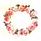 Flower, Watercolor painting of a wreath (thumbnail)