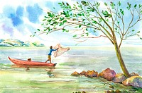 Flower, Watercolor painting of a fishman using fishing net on a boat