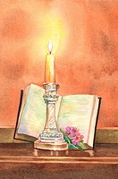 Flower, Watercolor painting of candlelight and a book