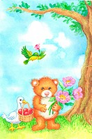 Animal, Watercolor painting of a duck, bear and bird