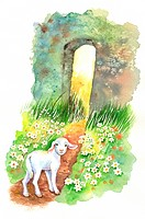 Animal, Watercolor painting of a lamb walking to a wall with wildflowers (thumbnail)
