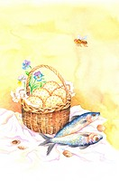 Insects, Animal, Watercolor painting of fishes, a basket of food and a honey bee