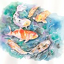 Animal, Watercolor painting of a group of fishes in water