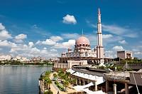 Malaysia, Putrajaya, Putra Lake, Pink Mosque