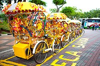 Malaysia, Melaka State, Portugis Square, Rickshaw